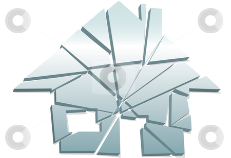 Broken Home concept as house symbol shattered to pieces stock vector clipart, Concept of broken home or real estate damage or failure as a house symbol shattered to pieces. by Michael Brown