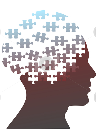 Jigsaw puzzle pieces as mind head of a man stock vector clipart, Jigsaw puzzle pieces as the mind in the profile head of the profile of a man. by Michael Brown