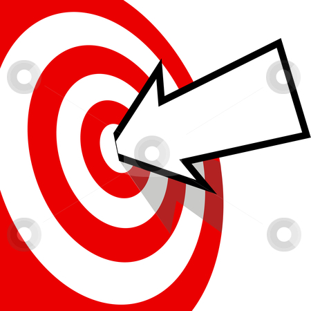 On Target Arrow Copyspace Hits Bulls Eye stock vector clipart, An arrow with your copyspace hits the bulls eye of a red target dead center. by Michael Brown