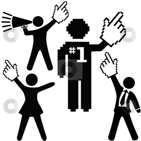People celebrate number 1 success with pixel cursor hand icon stock vector clipart, A set of number 1 symbol people raise up pixel cursor hand icons high to celebrate one success. by Michael Brown