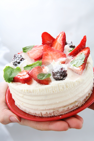 Strawberry cake stock photo, Strawberry cake by Robert Narkus