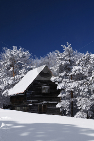 Mountain house in snow stock photo, Mountain house in snow, winter sunny day by Adam Radosavljevic