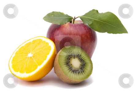 Fresh Fruits stock photo, Fruits On White Background by Adam Radosavljevic
