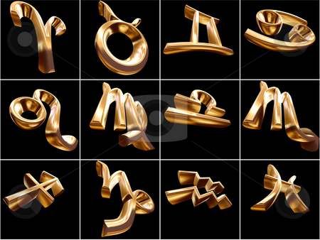 3D Zodiac Sign stock photo, 3D Zodiac signs on black background by Adam Radosavljevic