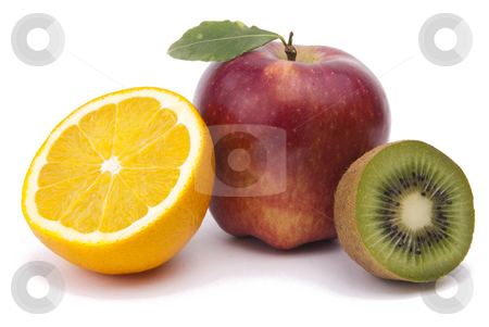 Fresh Fruit stock photo, Apple, Orange, Kiwi - Fruit On White Background by Adam Radosavljevic