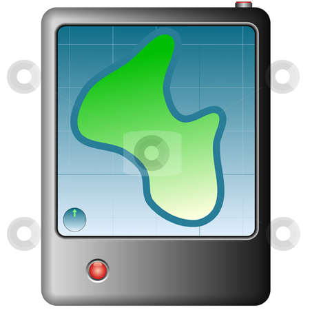 Gps stock vector clipart, GPS global positioning device with map and compass on screen by Ira J Lyles Jr