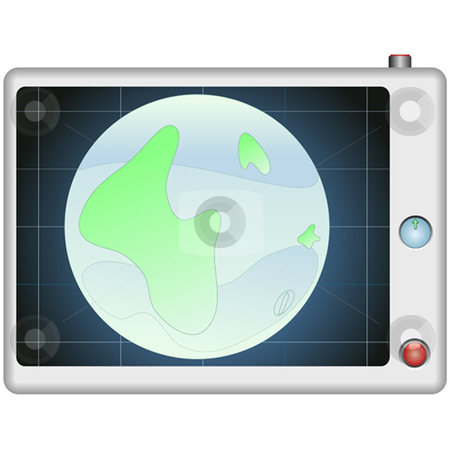 Gps World stock vector clipart, GPS global positioning device with globe by Ira J Lyles Jr