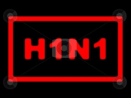 H1N1 Sign stock photo, Red sign for H1N1 or swine flu on black background by Henrik Lehnerer