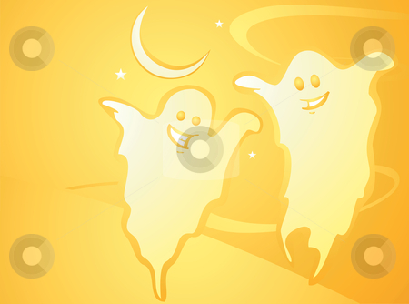 Halloween Ghost Background stock vector clipart, Softly orange colored desktop background, halloween themed with Ghosts. by Jeffrey Thompson