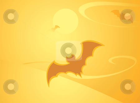 Halloween Bat Background stock vector clipart, Softly orange colored desktop background, halloween themed with bats. by Jeffrey Thompson
