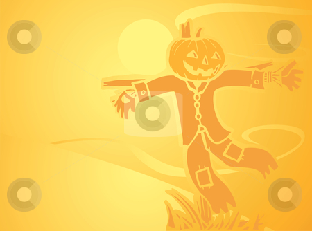 Halloween Scarecrow Background  stock vector clipart, Softly orange colored desktop background, halloween themed with a scarecrow. by Jeffrey Thompson