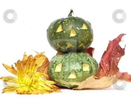 Two Halloween Pumpkin Heads  stock photo, Two Halloween Pumpkin Heads with flower and leaves by Lars Kastilan