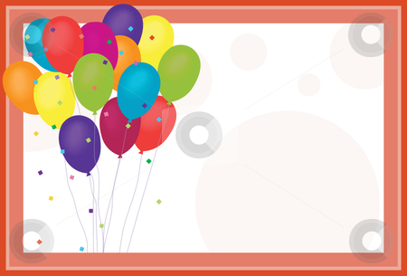 Birthday Balloons stock vector clipart, Birthday Balloons on confetti and polka dot background by x7vector