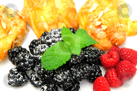 Bearclaws and Berries stock photo, Bearclaw pastries with fresh picked blackberries and Raspberries with a mint leaf garnish by Lynn Bendickson