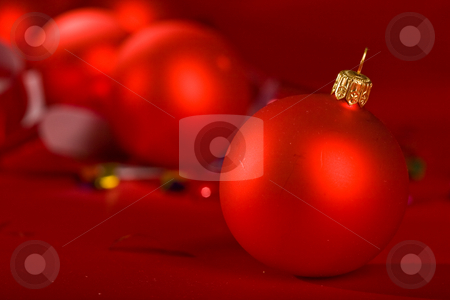 Christmas ball stock photo, Holiday series: close up of red christmas ball by Gennady Kravetsky