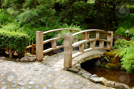 Garden bridge stock photo, Wooden garden bridge in botanical setting by perlphoto