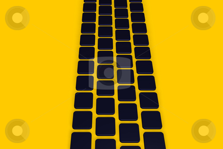 Blue tiles stock photo, Abstract background dark blue tiles on yellow - 3d illustration by J?