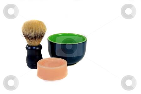Shaving Kit stock photo, Bristle brush and bowl shaving kit by Jack Schiffer