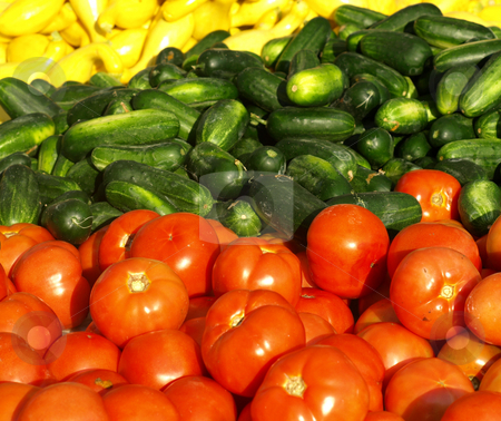 Vegatables or sale stock photo, Tomatoes, cucumbers ans squash or sale at a local farmers market by Tim Markley