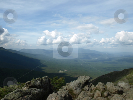 View in the clouds stock photo, View along the Jewel trail which goes up Mt. Washington in the White Mountains of New Hampshire. The view is during the summer by Tim Markley
