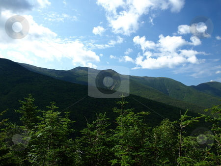 On the Jewel trail stock photo, View along the Jewel trail which goes up Mt. Washington in the White Mountains of New Hampshire. The view is during the summer by Tim Markley