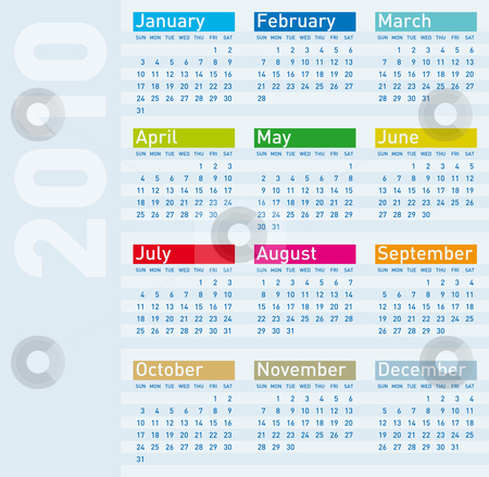 Calendar for year 2010 stock vector clipart, Calendar for year 2010, vector format. by Germ&aacute;n Ariel Berra
