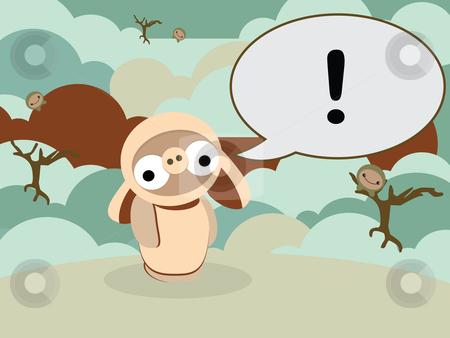 Doobiez in landscape stock vector clipart, Vector illustrated card design of a Doobiez character standing in a simple landscape by Susanne Krogh-hansen