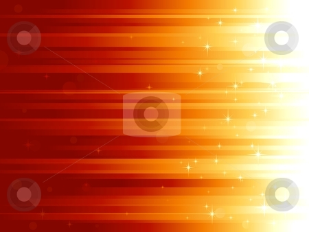 Light dots and stars on horizontally striped background stock vector clipart, Red golden festive background with stars and bokeh effect. Stripes controlled by 1 linear gradient. Some light dots with linear gradients. Use of global colors. Can be tiled vertically to custom size by Ina Wendrock