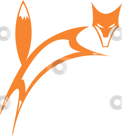 Fox stock vector clipart, Simplified fox leaping to the right and looking out. by Jeffrey Thompson