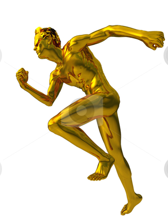 Race stock photo, Golden sculpture man runs on white background - 3d illustration by J?