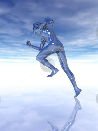 Go! stock photo, Sculpture man runs under cloudy blue sky - 3d illustration by J?