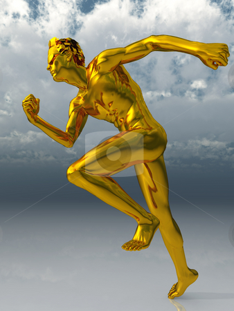 Run stock photo, Gold sculpture man runs under cloudy blue sky - 3d illustration by J?