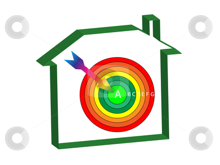 Energy ratings house target stock vector clipart, Energy ratings house with a target and arrow at the centre by Stephen Clarke