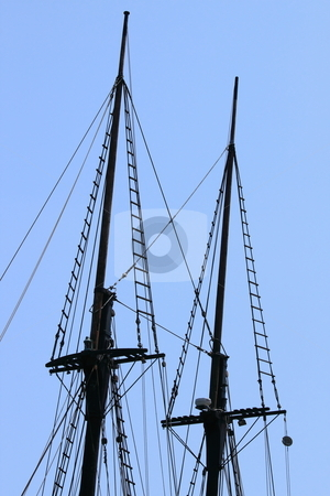 Rigging stock photo, Rigging of a sail boat with the blue sky in the background by Henrik Lehnerer