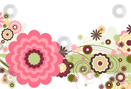 Floral Breeze stock vector clipart, Floral abstract design featuring floral shapes and curved lines and various shapes on a white background by x7vector
