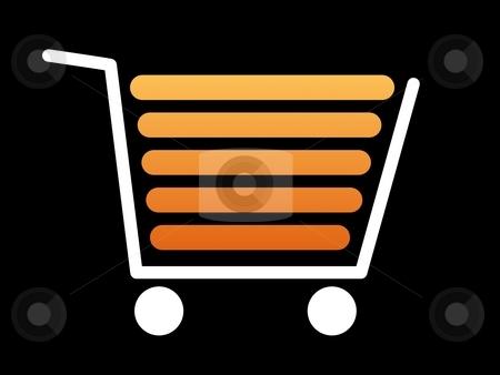 Shopping Cart White stock photo, White shopping cart with a black background by Henrik Lehnerer