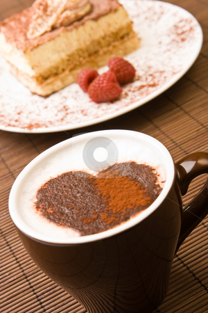 Cappuccino with a chocolate heart stock photo, Cappuccino with a chocolate heart and a slice of tiramisu by Robert Anthony