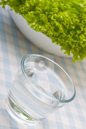 Strict Diet stock photo, Bowl of lettuce and a glass of water by Robert Anthony