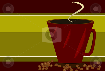 Red Coffee cup and coffee beans on Green  stock vector clipart, Red Coffee cup and coffee beans on red and green striped background by x7vector