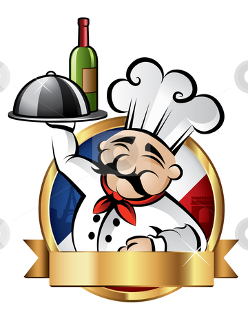 Cheerful Chef Illustration stock vector clipart, Cheerful chef serving dinner with Paris in the background - room for your text by Thomas Amby Johansen
