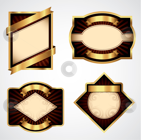 Vector Labels stock vector clipart, Four gold and brown vector labels for your text by Thomas Amby Johansen