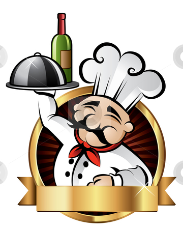 Cheerful Chef Illustration stock vector clipart, Cheerful chef serving dinner at a restaurant - room for your text by Thomas Amby Johansen