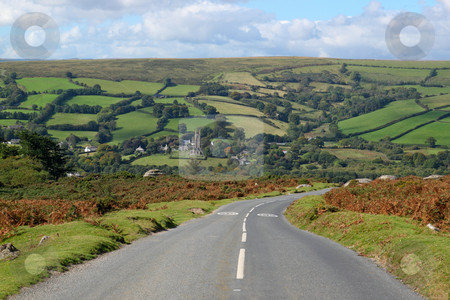 Country road to Widdecombe in the Moor, Dartmoor England. stock photo, Country road to Widdecombe in the Moor, Dartmoor England. by Stephen Rees