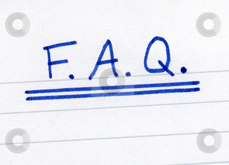 FAQ, frequently asked questions abbreviation, written on white paper. stock photo, FAQ, frequently asked questions abbreviation, written on white paper. by Stephen Rees
