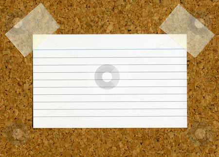 Blank index card stick to a cork notice board. stock photo, Blank index card stick to a cork notice board. by Stephen Rees