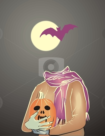 Halloween stock vector clipart, Mysterious silhouette against a black background Moon by Vladim?