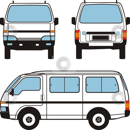 Minivan Car, Vector Shapes stock vector clipart, White minivan car, vector black lines over white background by Čerešňák