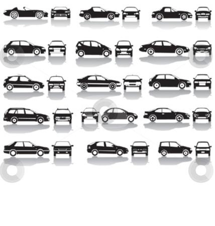 Black Set Of Cars Vector stock vector clipart, Set icons - Black silhouettes of cars, vector shapes design by Čerešňák