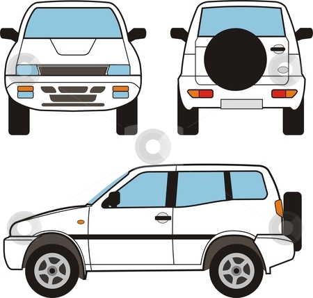 Car - Small Suv, Vector Shapes stock vector clipart, Car - Small Suv, Vector Shapes by Vladim?