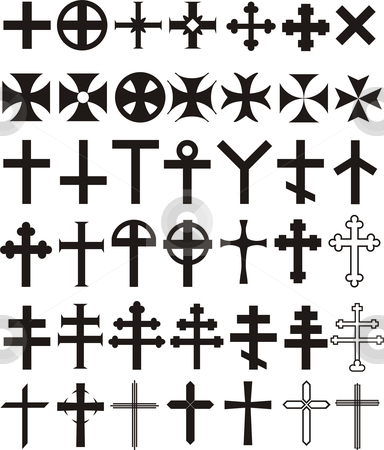 Cross Set stock vector clipart, Vector illustrations historical current decorative and symbolic crosses by Čerešňák